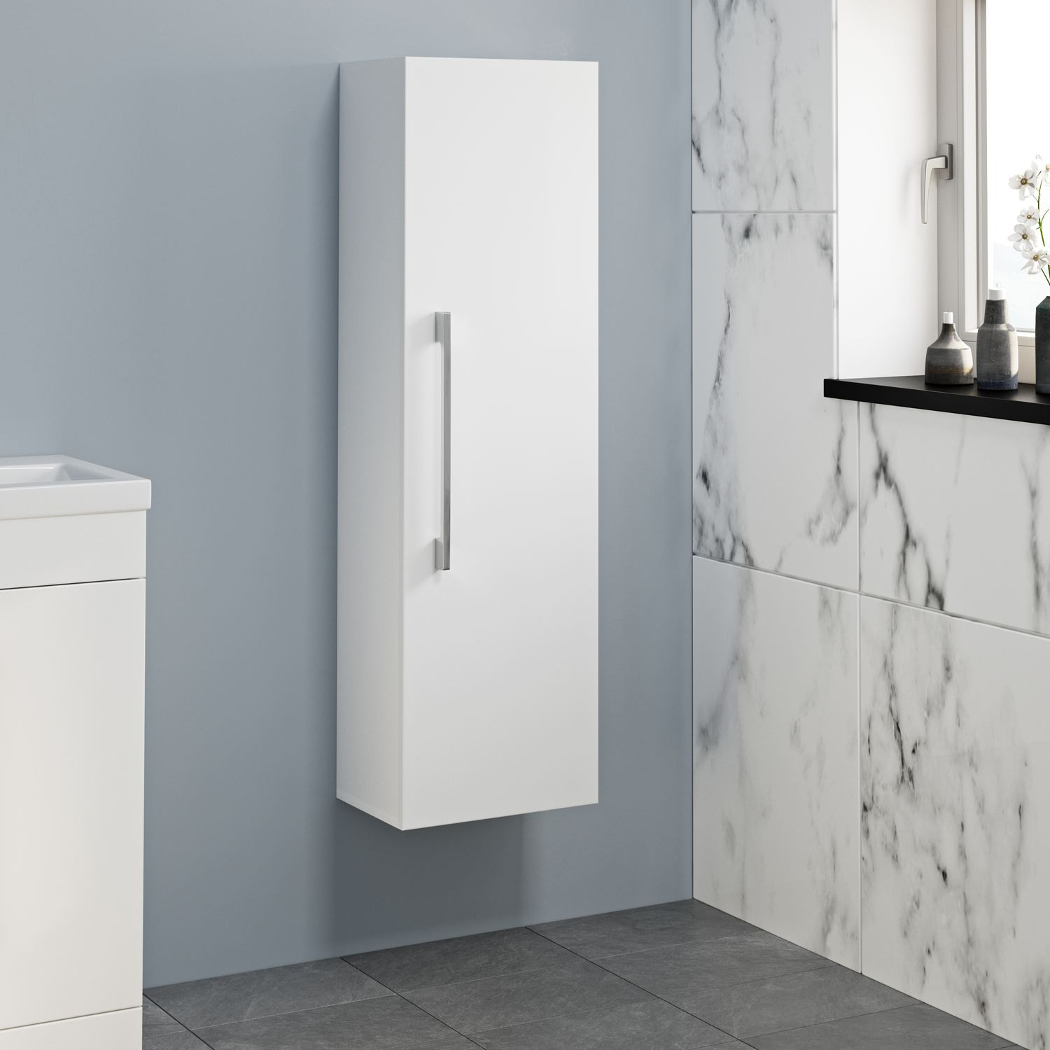 1200mm Tall Bathroom Wall Hung Storage Cabinet Cupboard Modern Soft pertaining to size 1500 X 1500