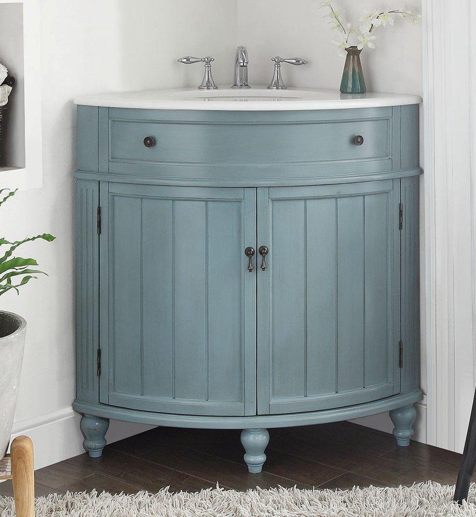 24 Benton Collection Light Blue Thomasville Corner Bathroom Sink inside proportions 943 X 1024
