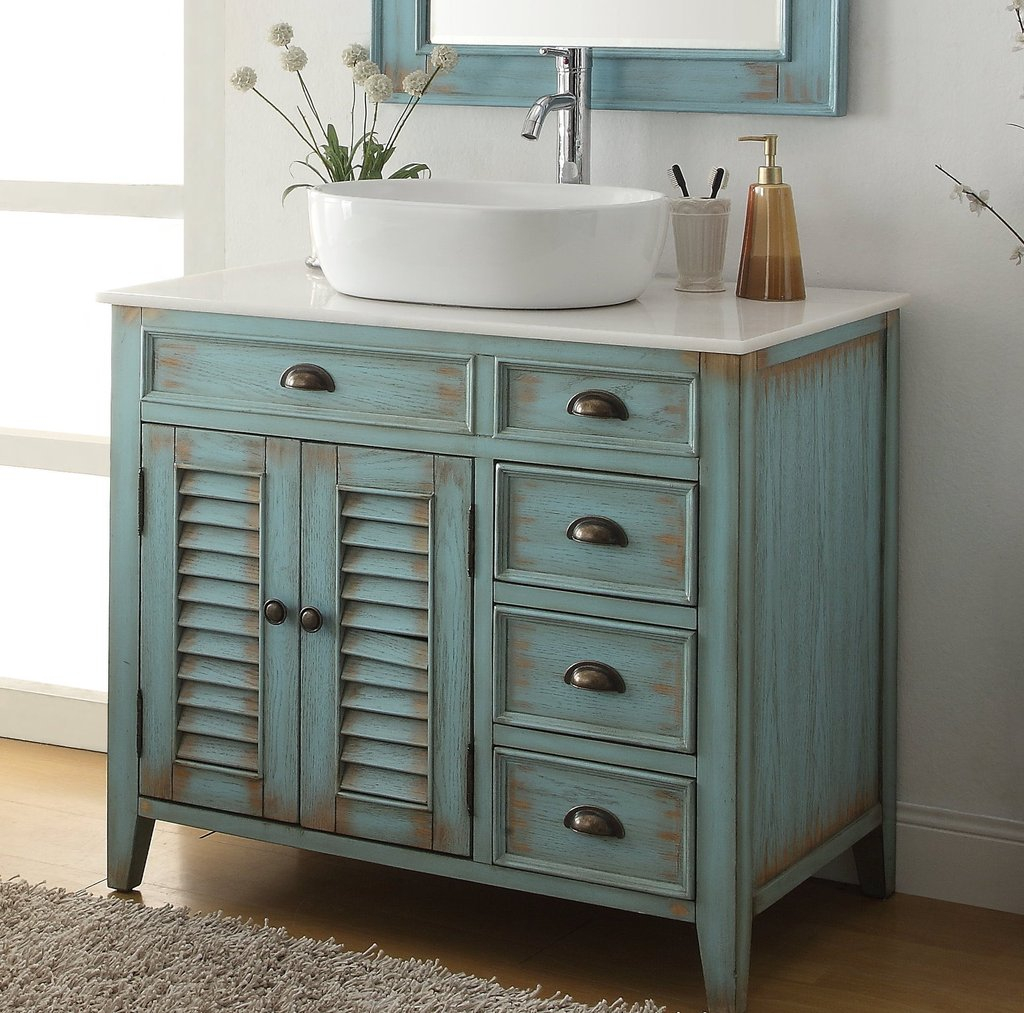 36 Benton Collection Distress Blue Abbeville Vessel Sink Bathroom throughout proportions 1024 X 1013