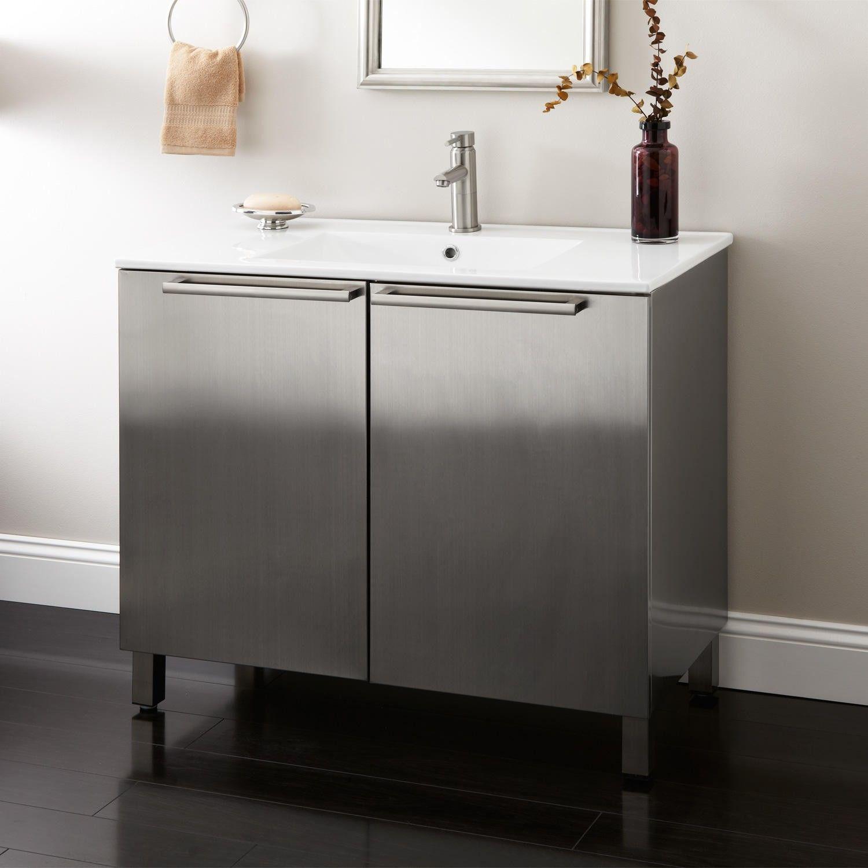 36 Tybalt Stainless Steel Vanity Bathroom Vanities Bathroom regarding measurements 1500 X 1500