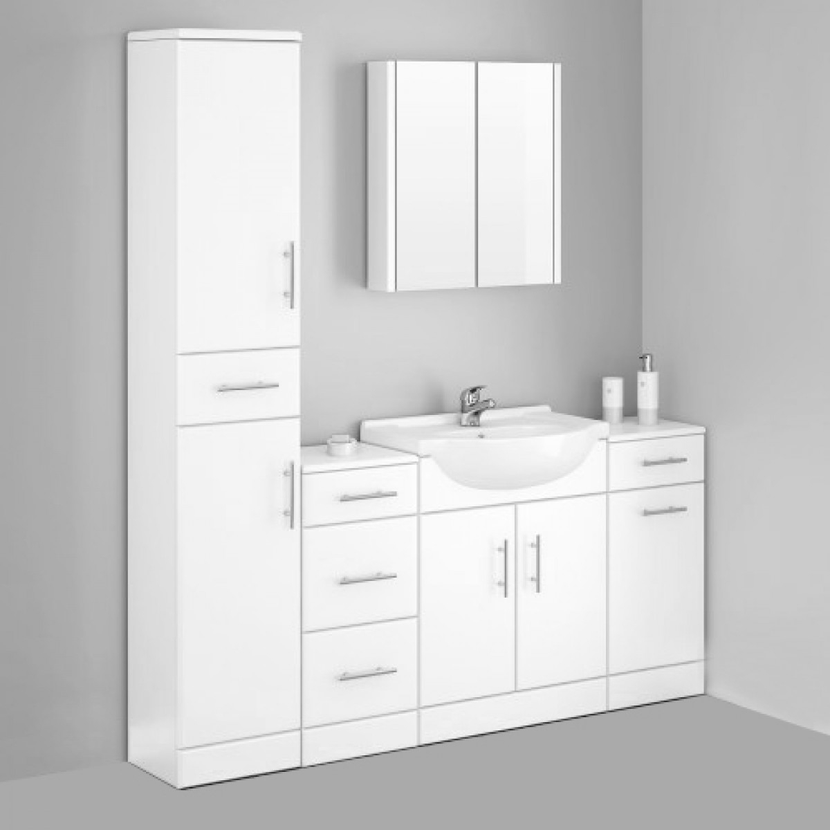 Alaska Bathroom Furniture Pack 5 Piece White Gloss within dimensions 1200 X 1200