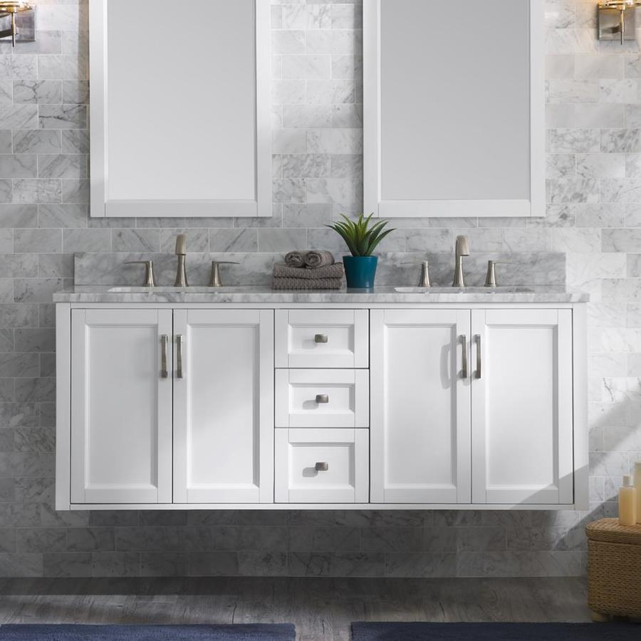 Allen Roth Floating 60 In White Double Sink Bathroom Vanity With throughout sizing 900 X 900