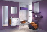 Amazing Purple Bathroom Walls Design With Glazed White Floating regarding sizing 1056 X 800