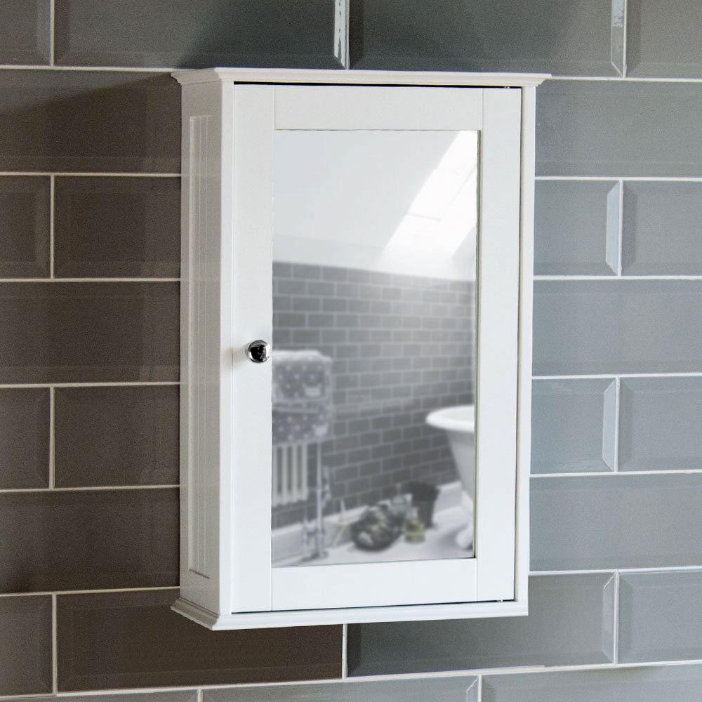 Bathroom Wall Cabinet Single Mirror Door Cupboard White Wood Home with sizing 1000 X 1000