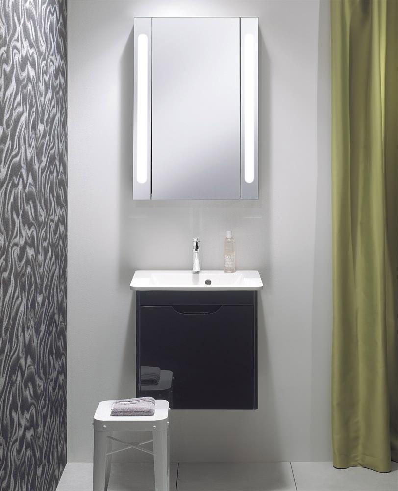 Bauhaus Aluminium 550 X 800mm Single Door Mirrored Cabinet Cb5580al with size 812 X 1000