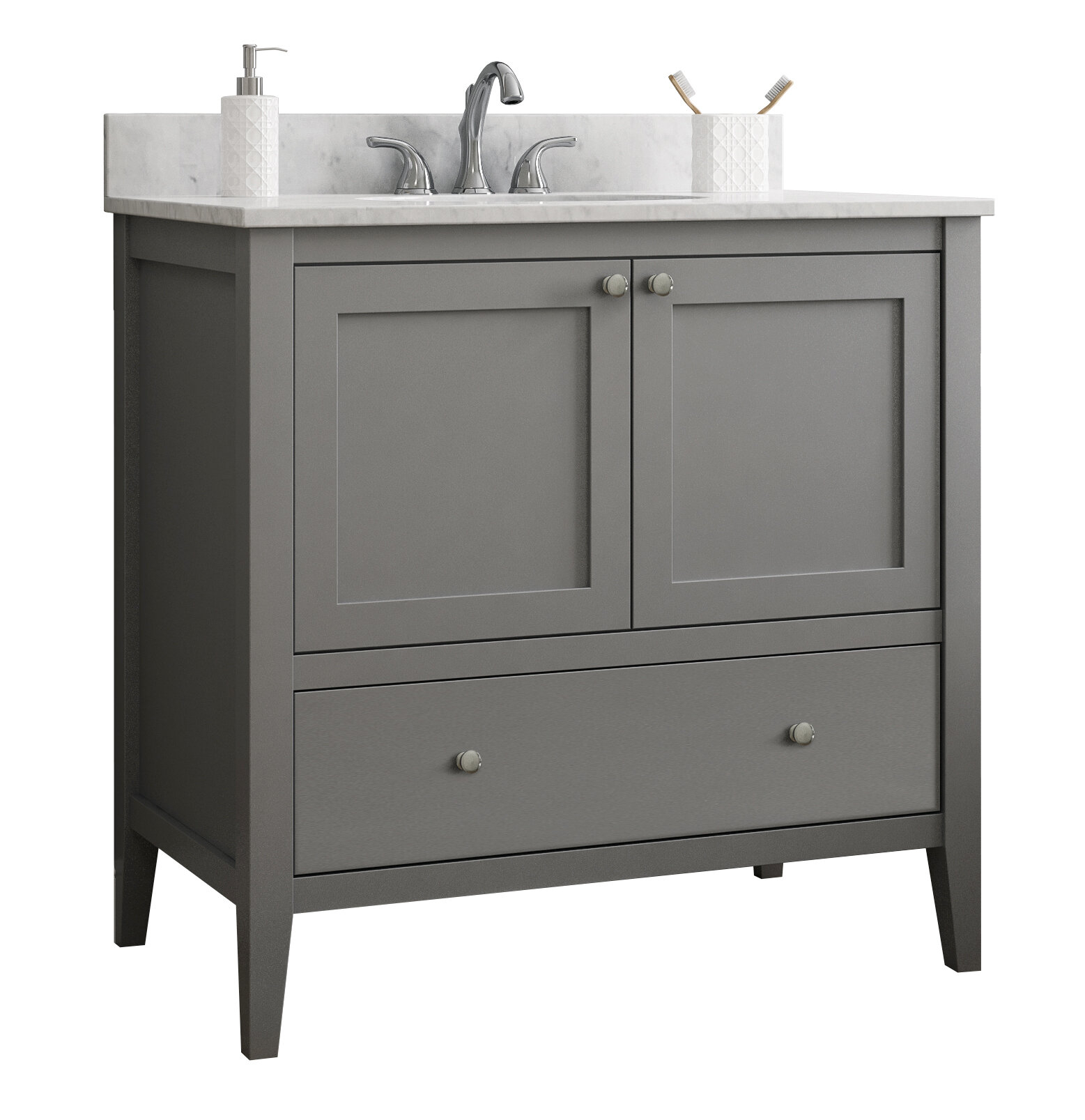 Cnc Cabinetry Vanguard 36 Single Bathroom Vanity Base Only inside measurements 1557 X 1607