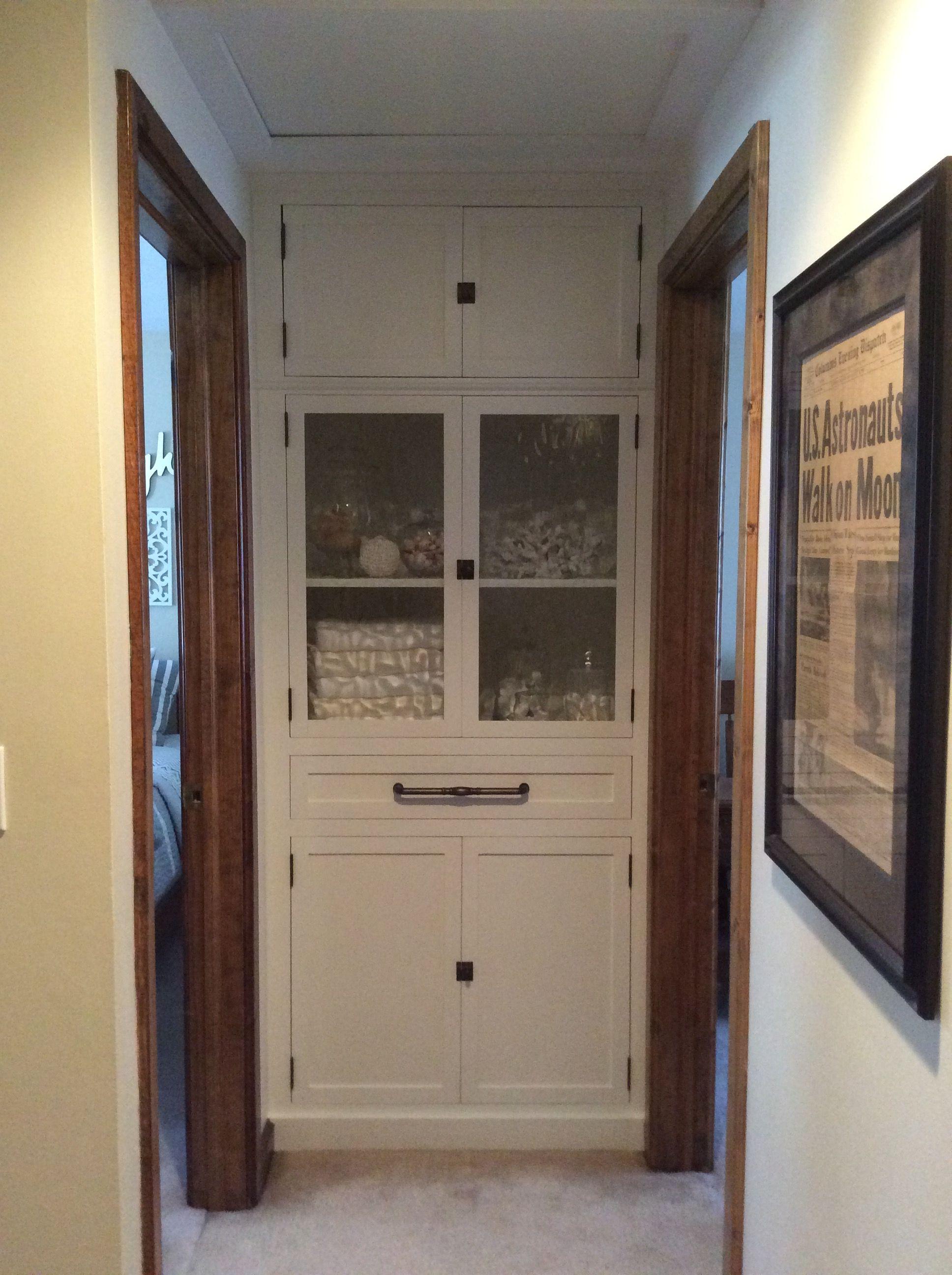 End Of Hallway Linen Closet Remove Bifold Door Add Custom Cabinet pertaining to measurements 1936 X 2592