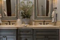 French Country Bathroom With Gray Washed Cabinets Mirrors With inside dimensions 980 X 1470