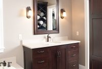 Love The Dark Cabinets With The Light Marble And Tile Bathroom regarding size 801 X 1200