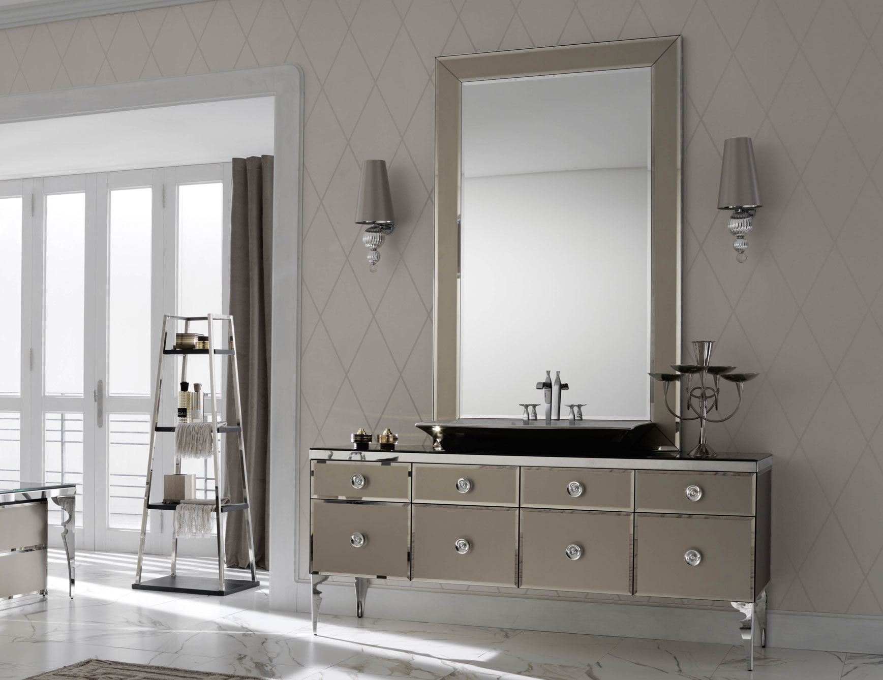 Milldue Majestic 10 Bronze Lacquered Glass High End Italian Bathroom regarding proportions 1737 X 1338