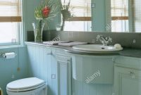 Mirrored Wall Above Basin And Toilet In Tonguegroove Paneled Vanity inside dimensions 1027 X 1390