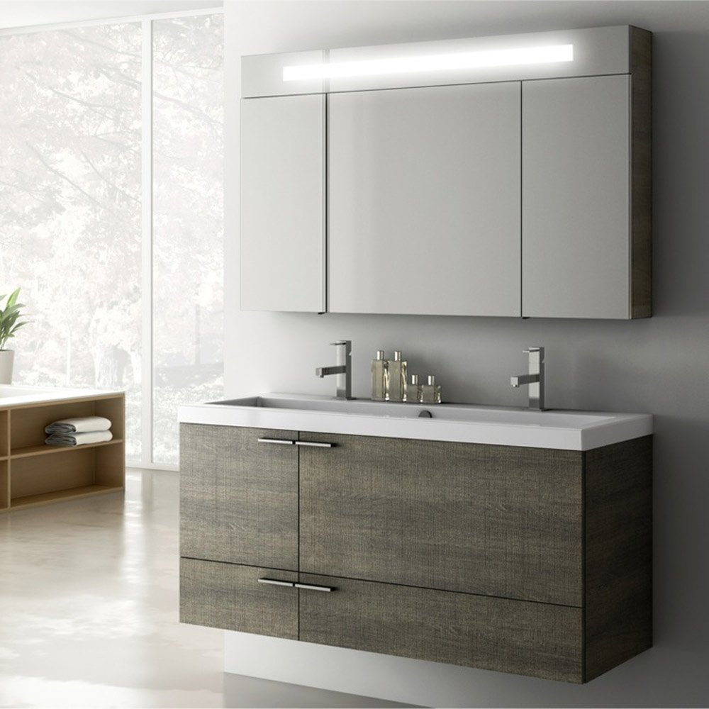 Modern 47 Inch Bathroom Vanity Set With Medicine Cabinet Grey Oak pertaining to proportions 1000 X 1000