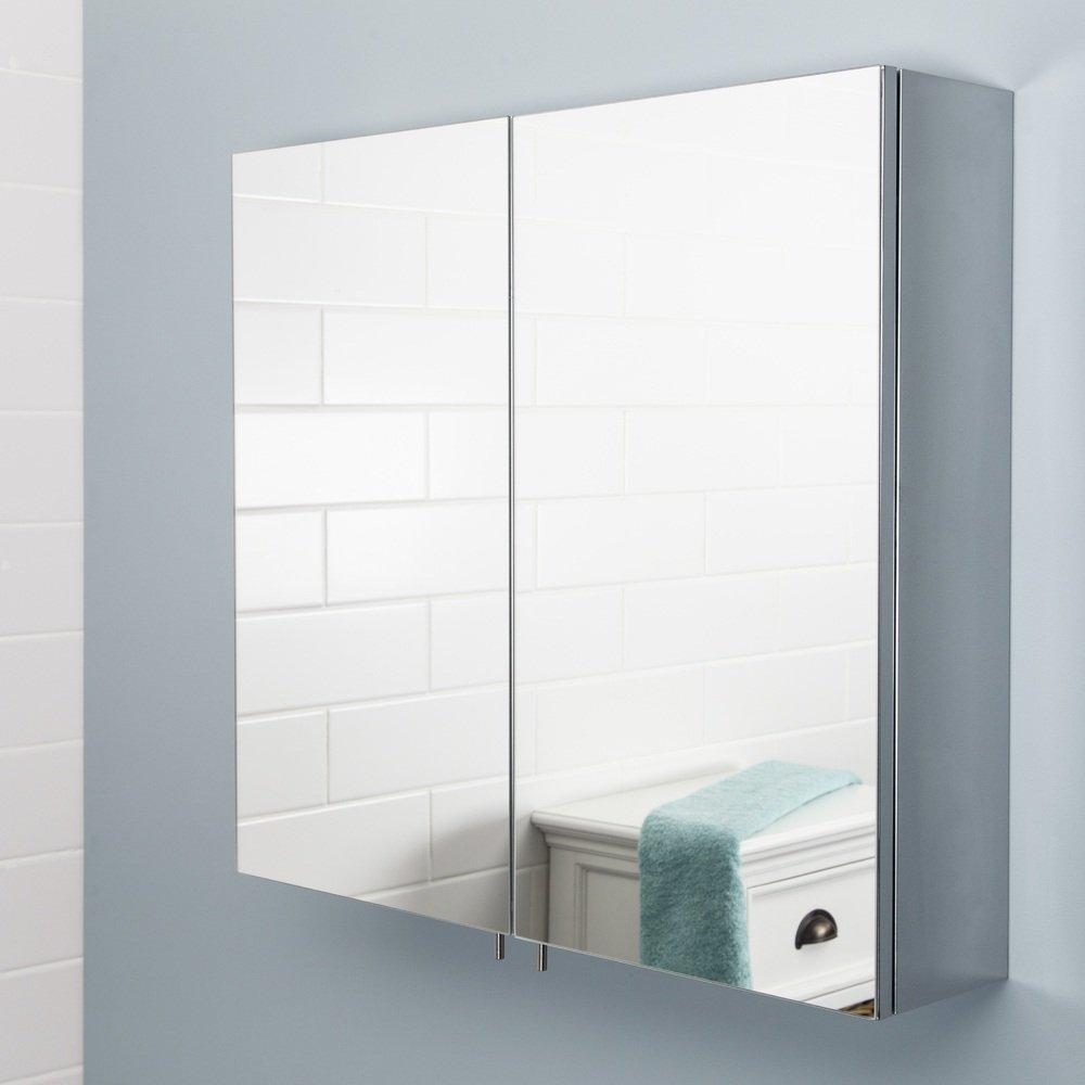 Stainless Steel Bathroom Cabinet Mirror Doors Vasari intended for measurements 1000 X 1000
