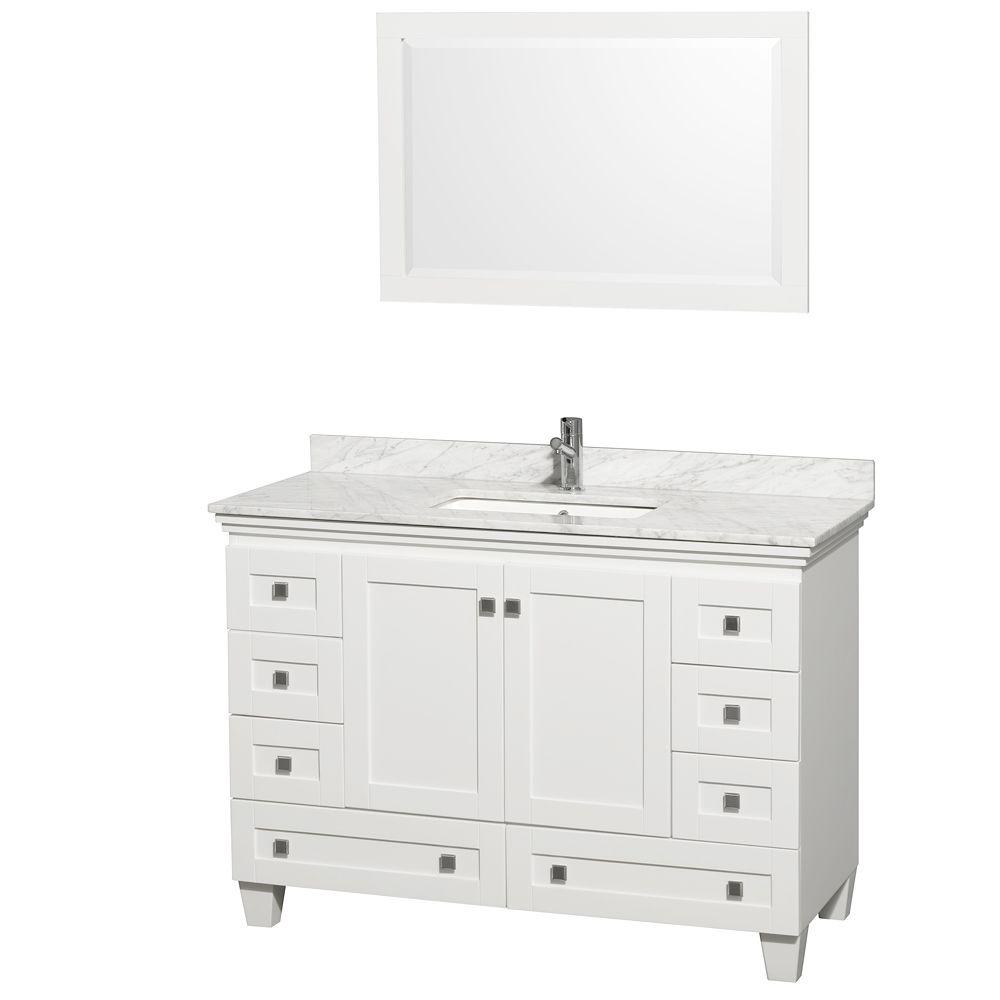 Wyndham Collection Acclaim 48 In Vanity In White With Marble Vanity intended for size 1000 X 1000