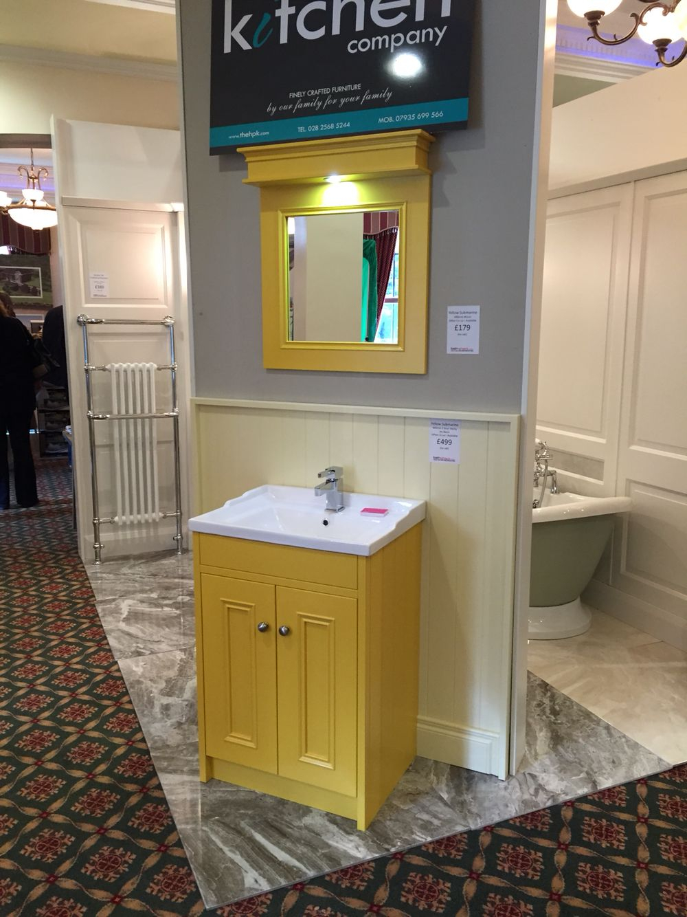 Yellow Painted Bathroom Vanity Unit With Matching Painted Mirror with regard to proportions 1000 X 1334