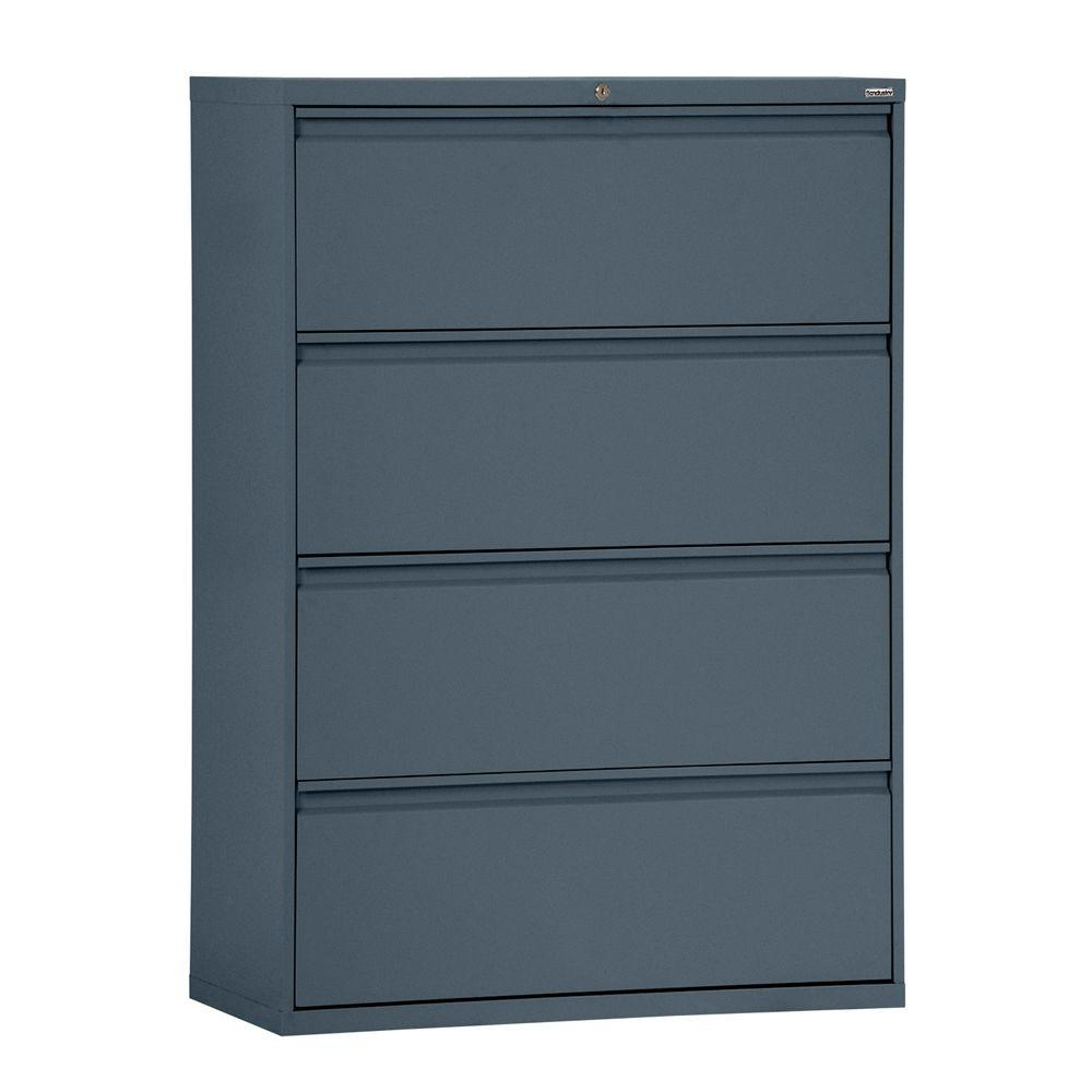 800 Series 36 In W 4 Drawer Full Pull Lateral File Cabinet In Black pertaining to measurements 1000 X 1000
