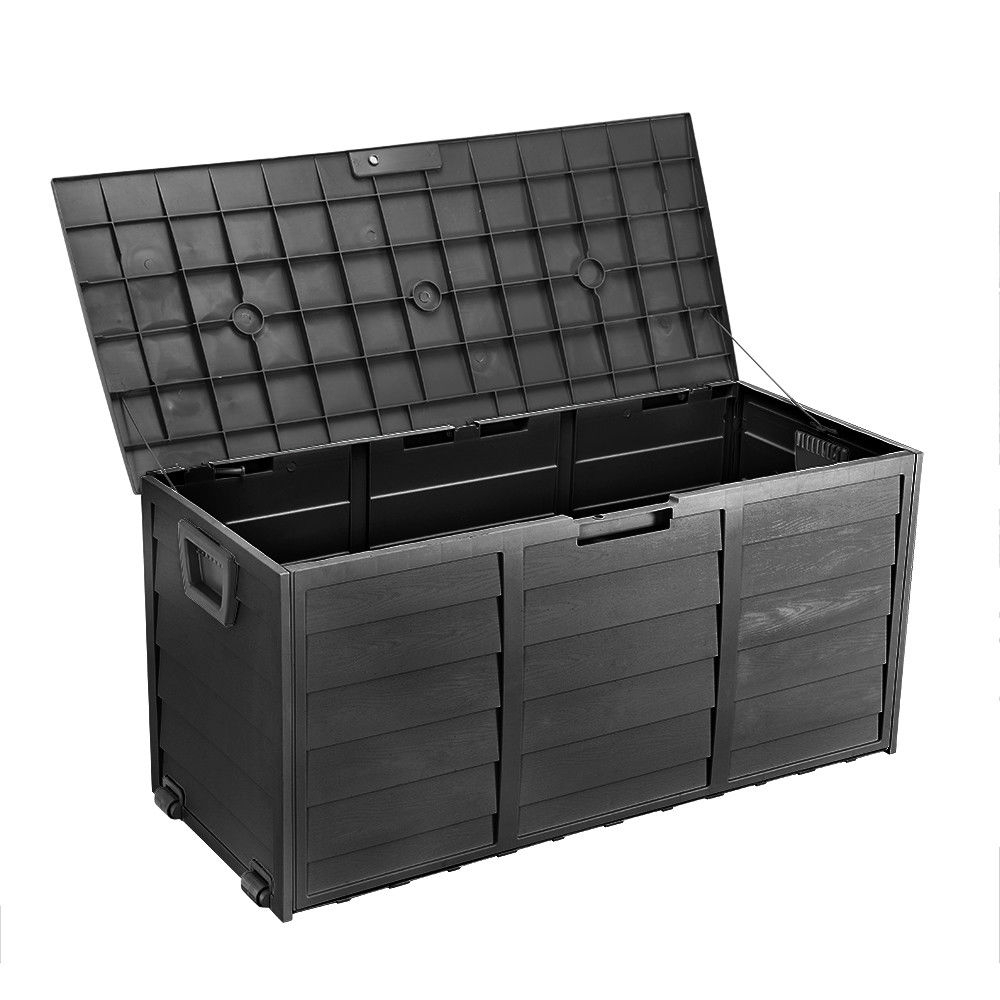 All Black Outdoor Storage Box 290l Large Capacity Waterproof throughout sizing 1000 X 1000