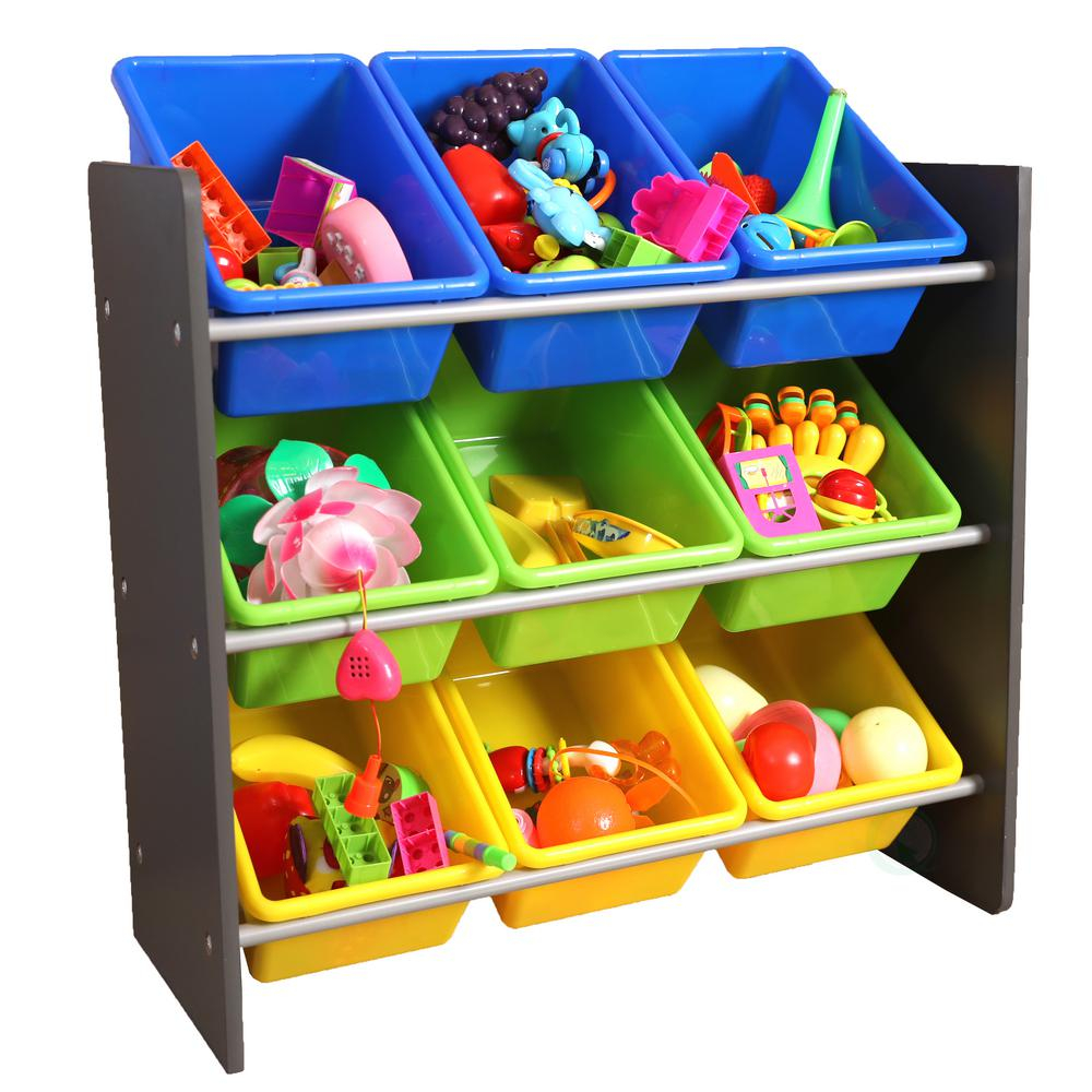 Basicwise 3 Tier Kids Toy Storage Organizer With 9 Plastic Bins for measurements 1000 X 1000