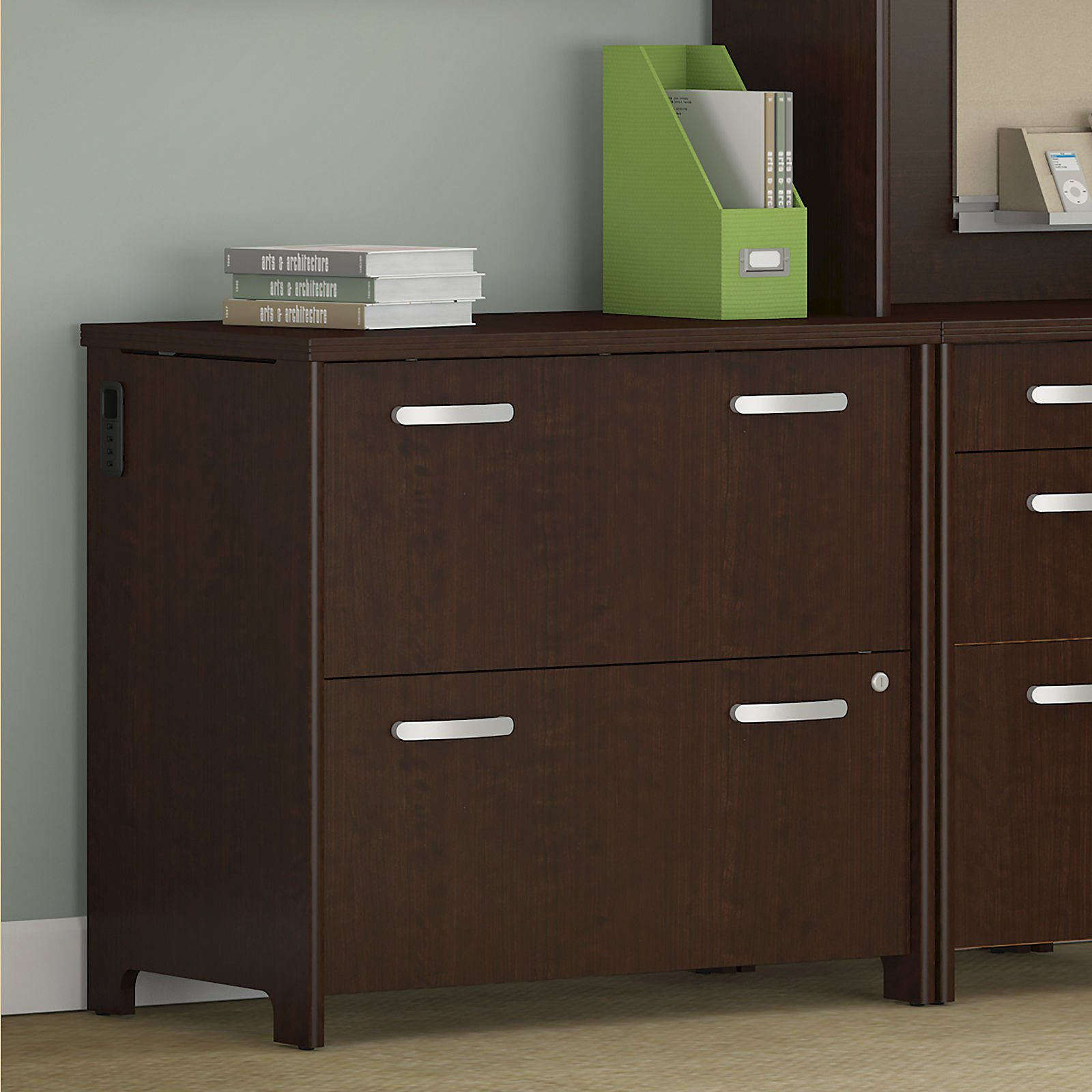Bush Envoy 32 In 2 Drawer Lateral File Cabinet Mocha Cherry throughout measurements 1600 X 1600