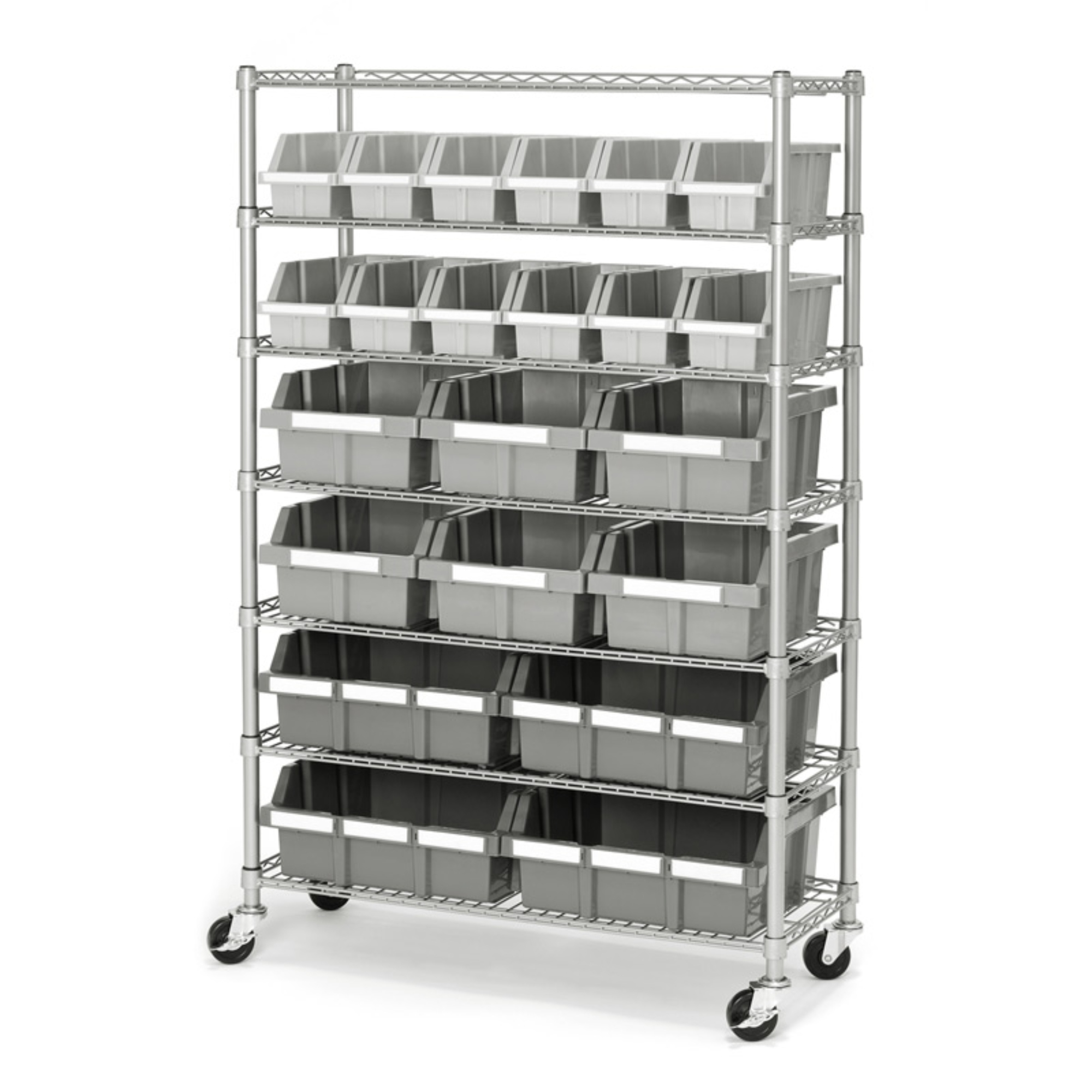 Commercial Platinumgray 7 Shelf 22 Bin Rack Storage System 14 X 36 intended for sizing 2000 X 2000