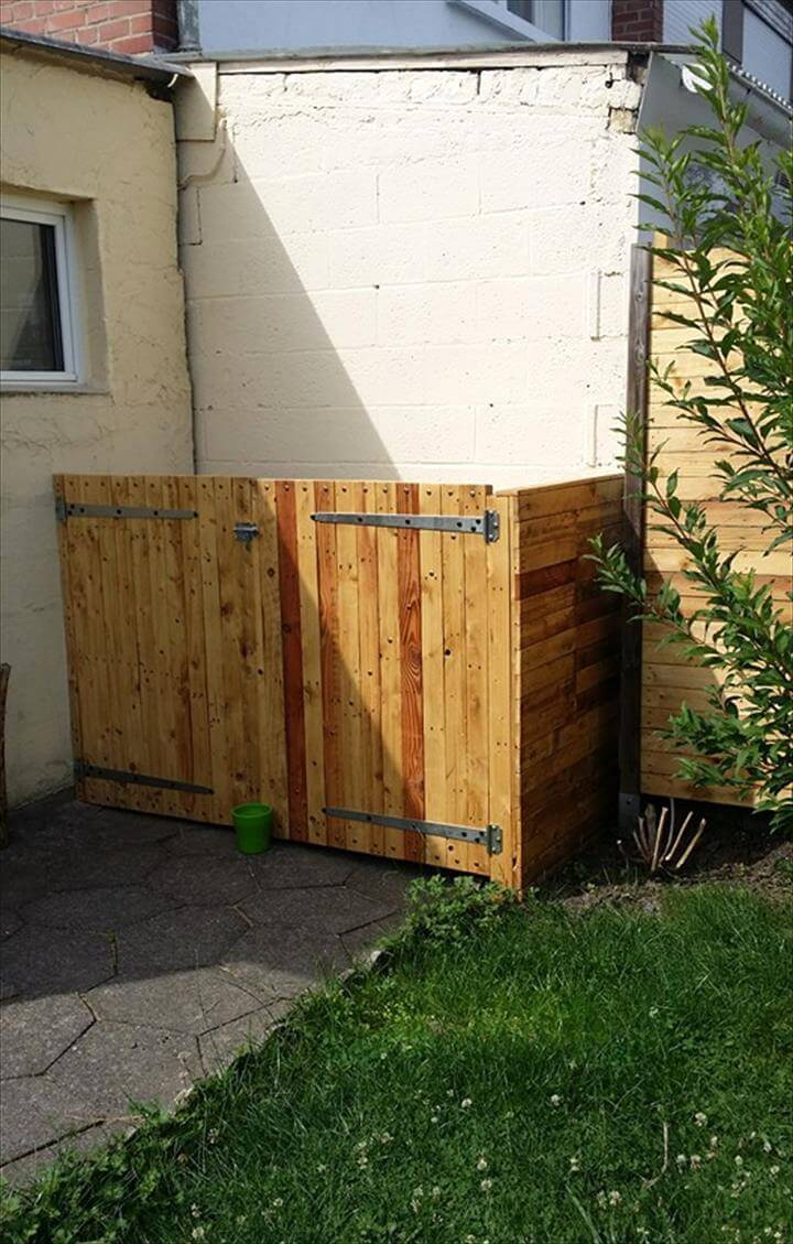 Diy Pallet Trash Can Hide Easy Pallet Ideas intended for proportions 720 X 1129