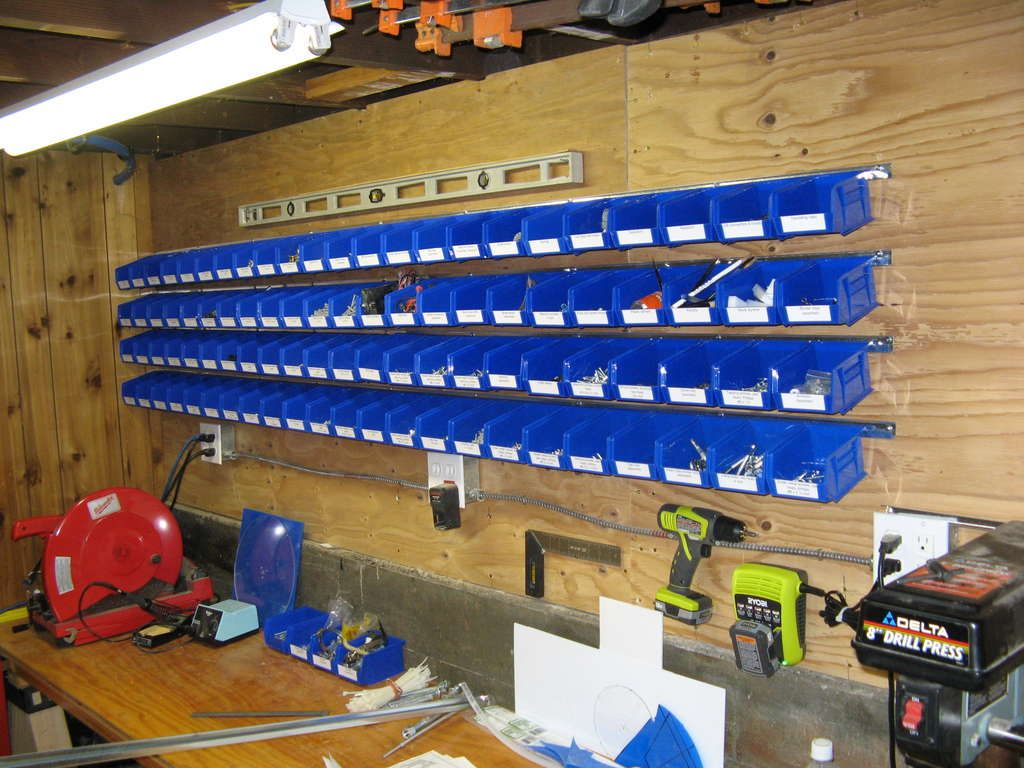 Easy Wall Mounted Storage Bins For Hardware Parts Workshop Wall intended for proportions 1024 X 768