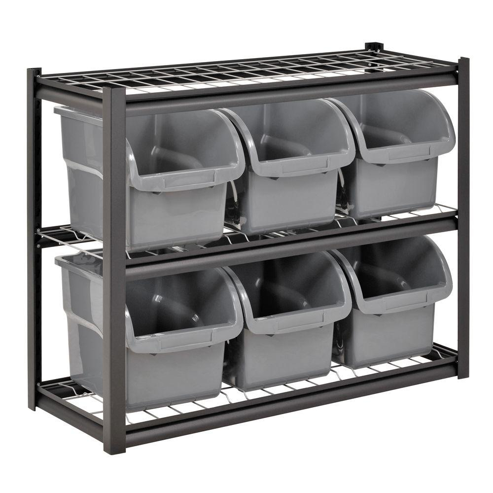 Edsal 33 In H X 44 In W X 16 In D 2 Shelves 6 Bin Shelving Rack inside proportions 1000 X 1000