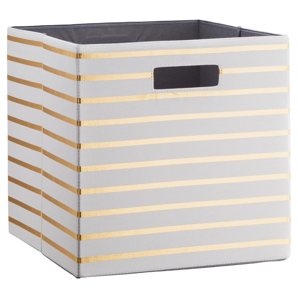 Fabric Cube Storage Bin 13 White Gold Stripe Threshold throughout proportions 1000 X 1000