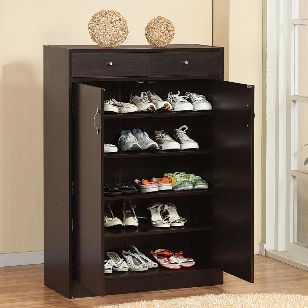Furniture Of America 5 Shelf Shoe Cabinet With Two Upper Storage inside size 1000 X 1000