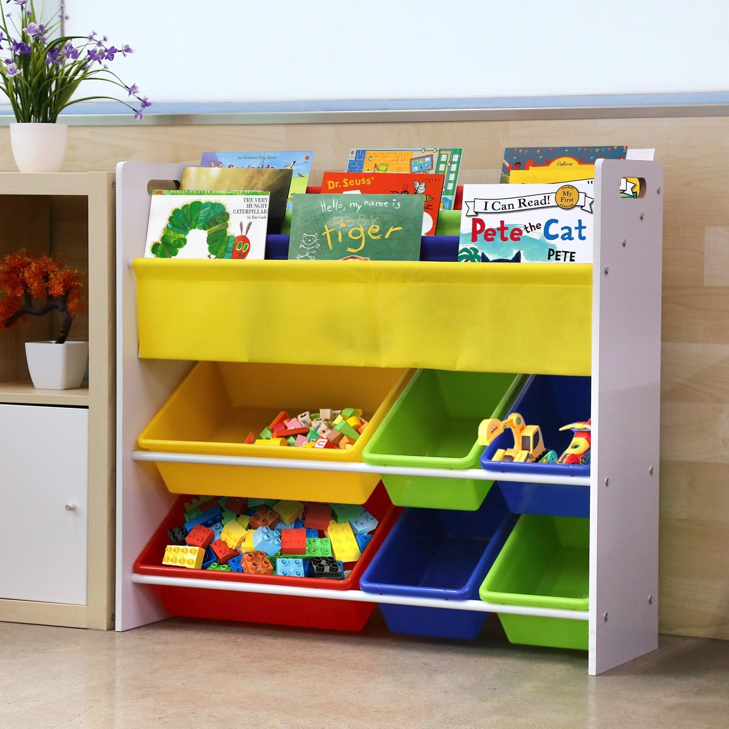 Homfa Toy Storage Unit With 3 Tier Bookshelf And 6 Toy Storage Bins regarding dimensions 1500 X 1500