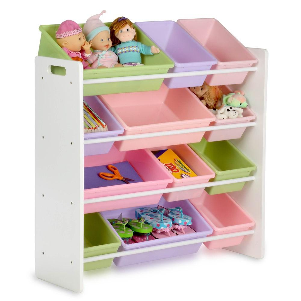Honey Can Do Kids Toy Storage Organizer With Bins Whitepastel Srt with regard to dimensions 1000 X 1000