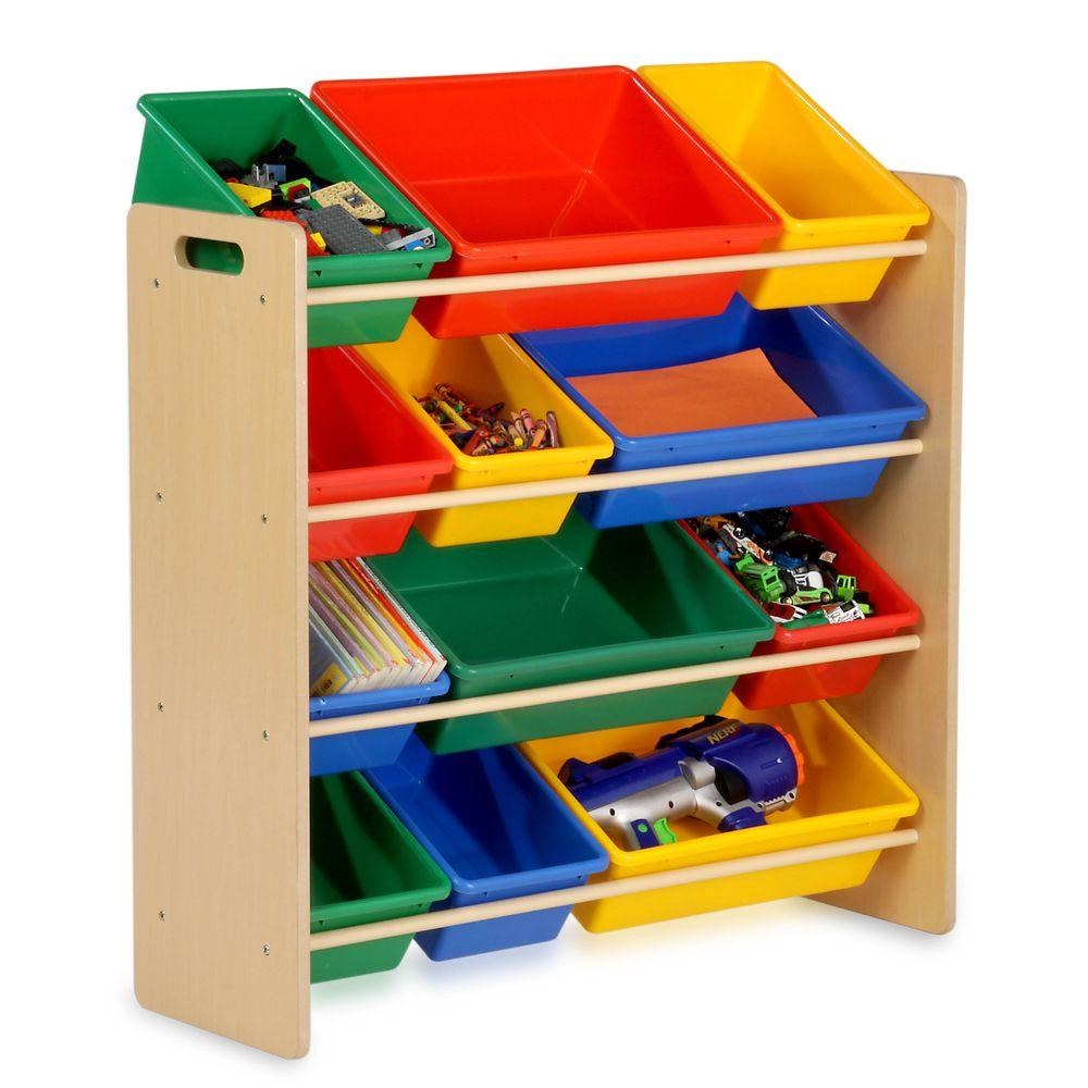 Honey Can Do Kids Toy Storage Organizer With Plastic Bins Natural throughout size 1000 X 1000