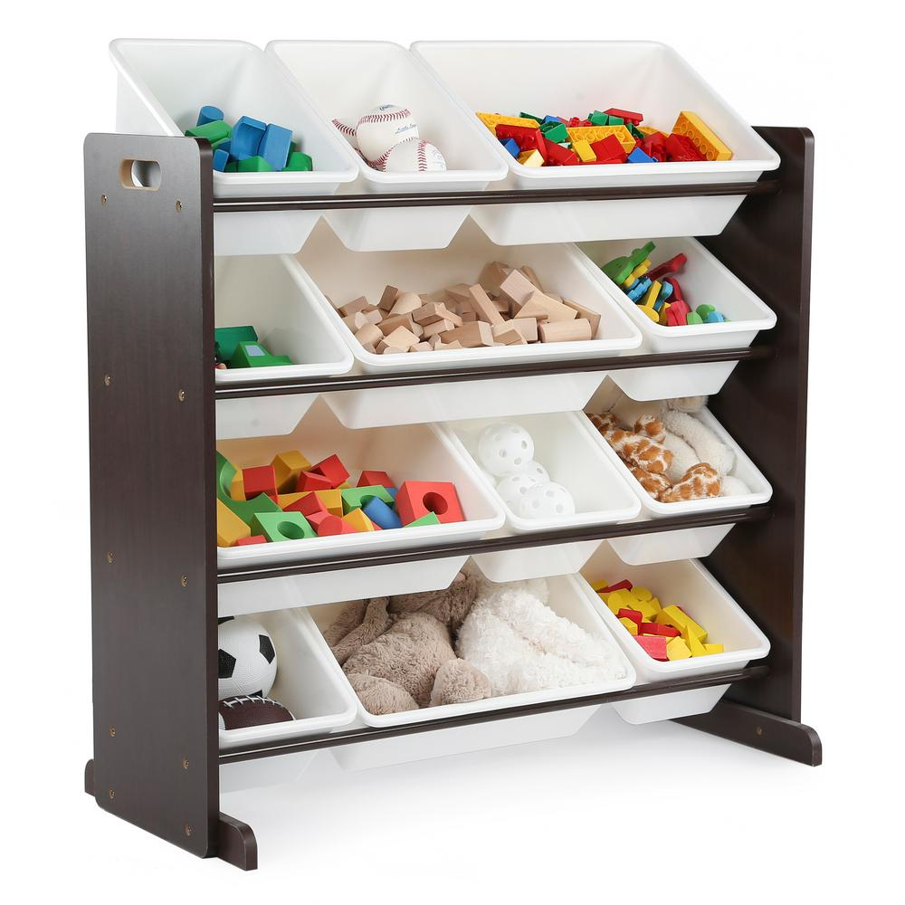 Humble Crew 12 Bin Deluxe Toy Storage Organizer In Espresso White regarding sizing 1000 X 1000