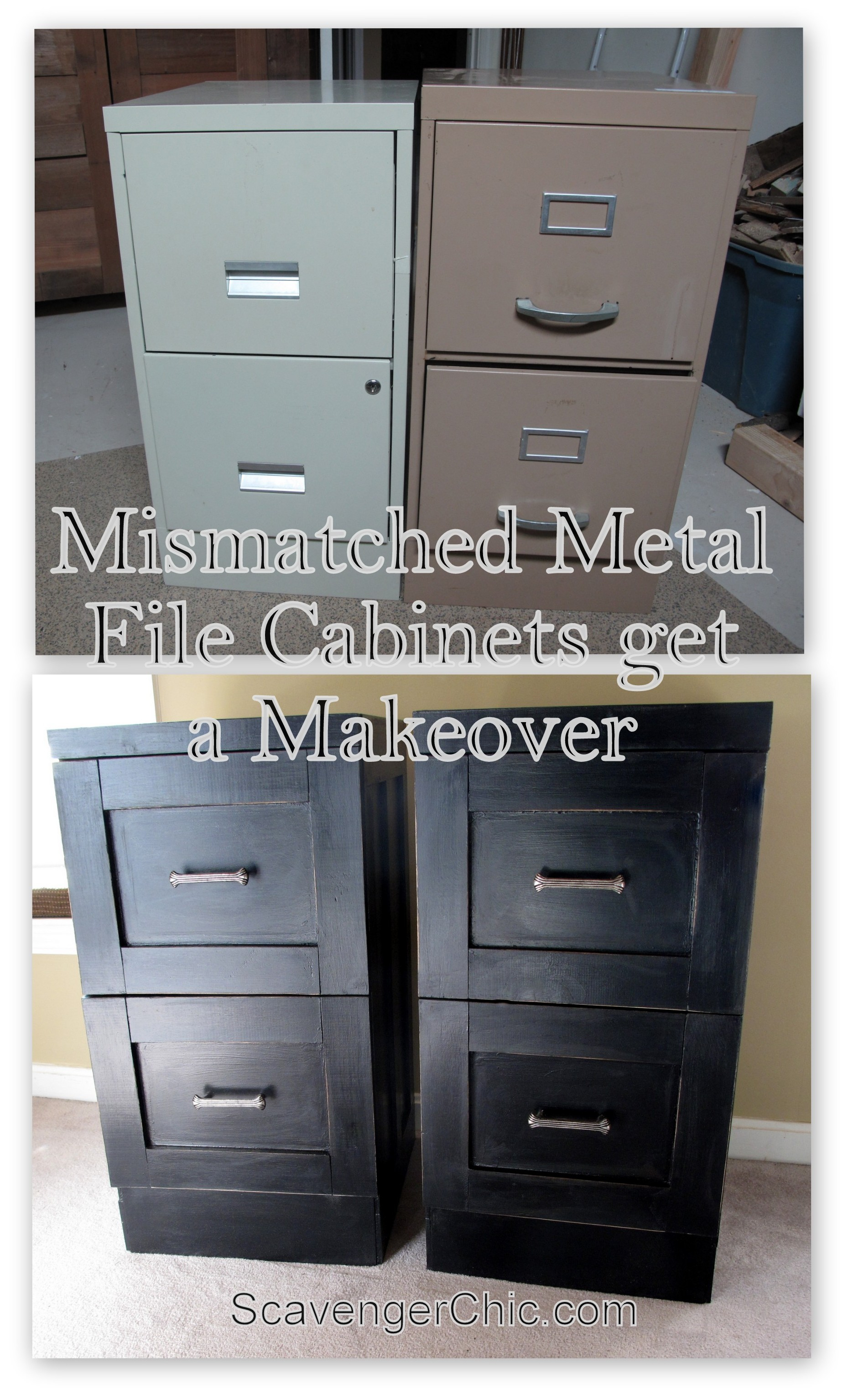 Mismatched Metal File Cabinets Get A Makeover Scavenger Chic intended for sizing 1859 X 3069