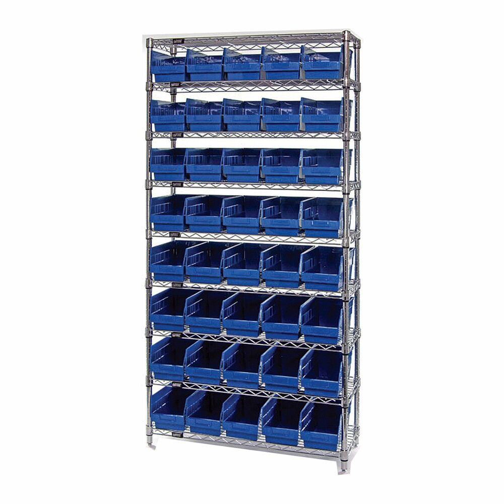 Quantum Storage 40 Bin Chrome Wire Shelf Bin System Blue 36x12x74 with dimensions 1000 X 1000