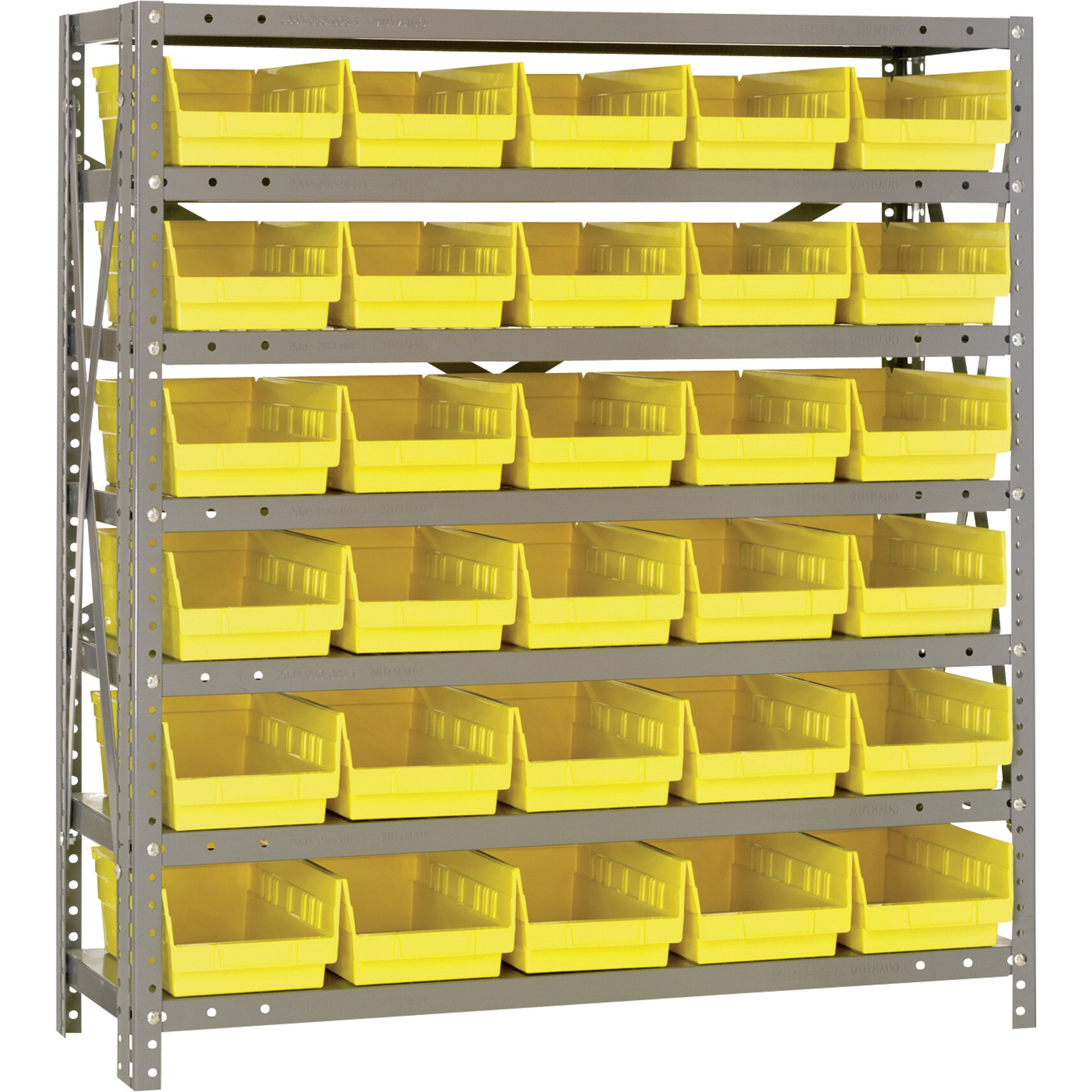 Quantum Storage Single Sided Steel Shelving Unit With 30 Bins 36in throughout measurements 2000 X 2000