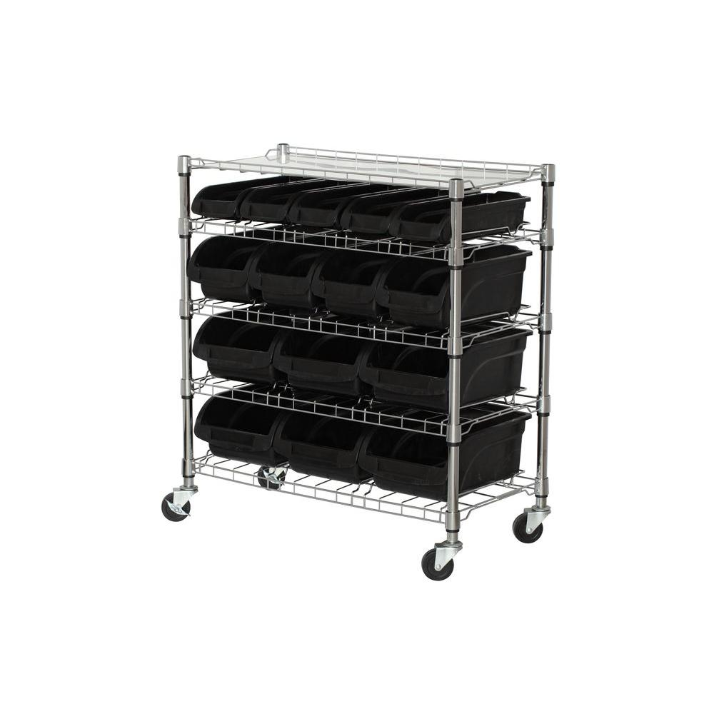 Sandusky 38 In H X 33 In W X 165 In D 5 Shelf Mobile Bin with sizing 1000 X 1000