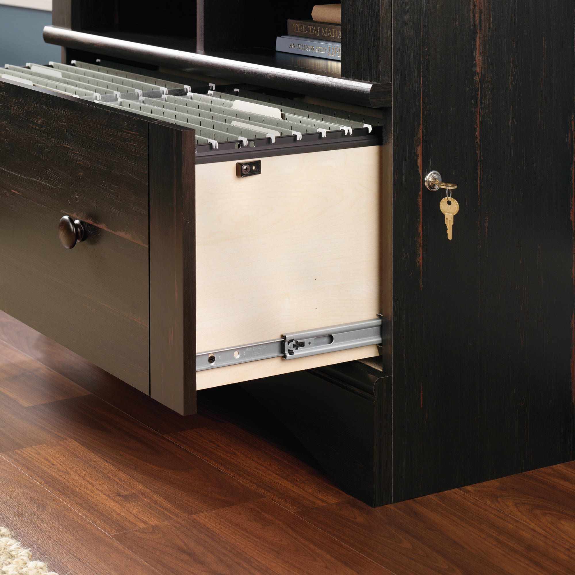 Sauder Harbor View Lateral File With Lock Antiqued Paint Finish with regard to dimensions 2000 X 2000