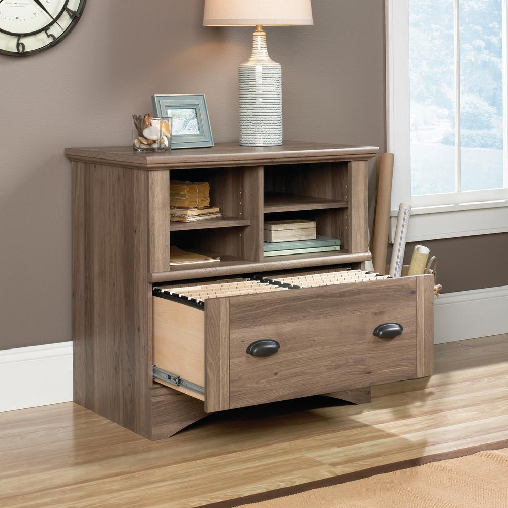 Sauder Harbor View Salt Oak Lateral File Cabinet With 1 Drawer intended for proportions 1000 X 1000