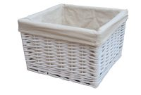 Square White Wicker Deep Storage Basket intended for measurements 1000 X 1000