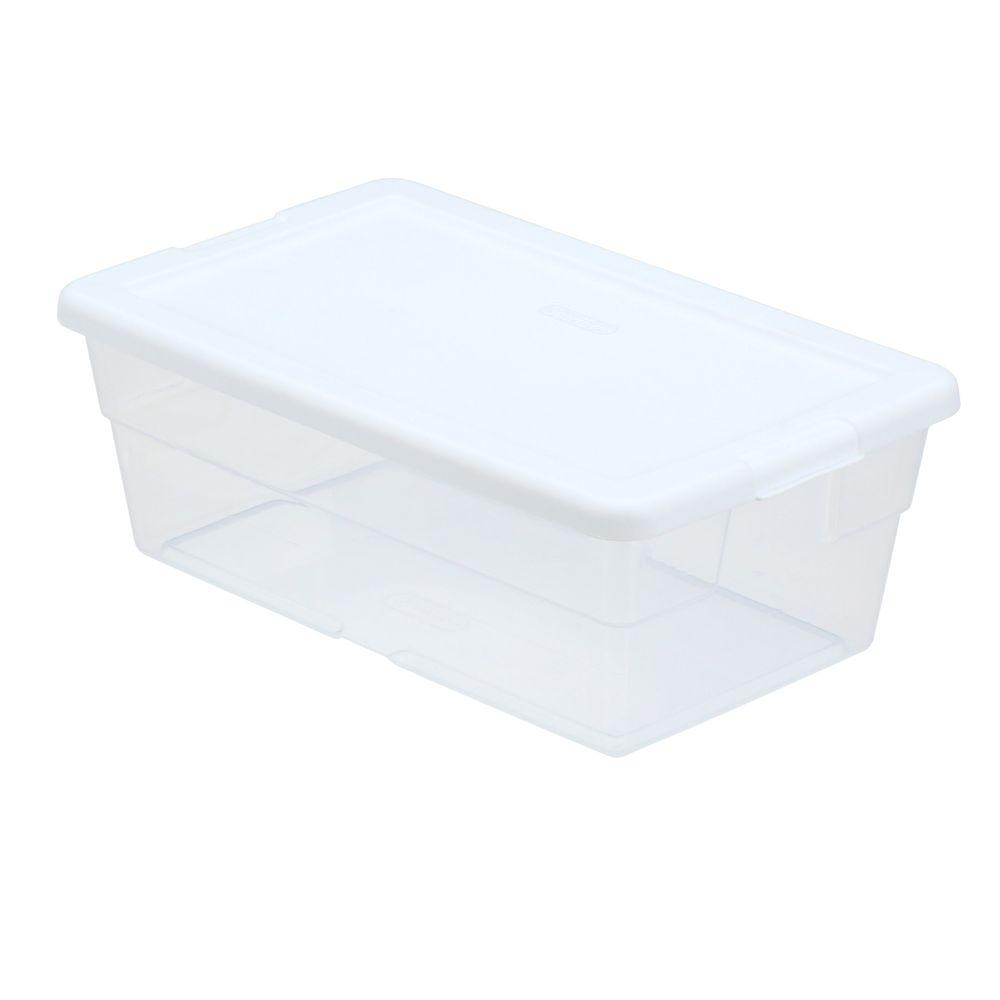 Sterilite 6 Qt Storage Box In White And Clear Plastic 16428960 intended for size 1000 X 1000
