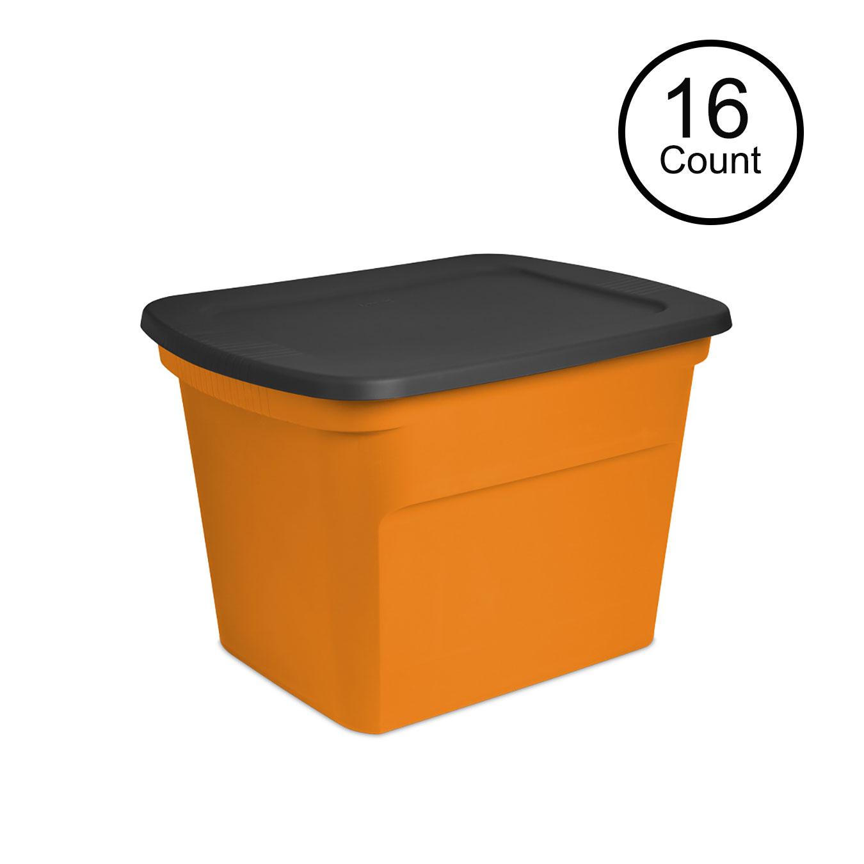 Sterilite Large 18 Gallon Opaque Plastic Storage Tote Bin W Lid with dimensions 1350 X 1351