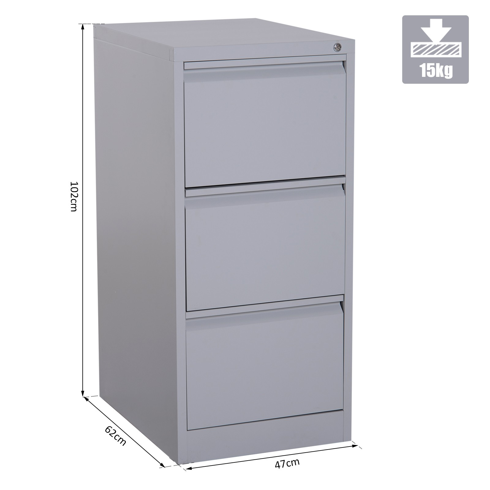 Vinsetto 3 Drawer Vertical File Cabinet Steel Storage Shelf Lockable throughout measurements 1600 X 1600