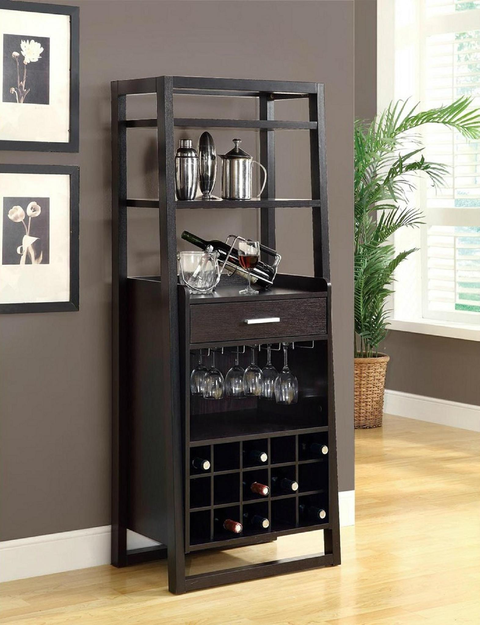 15 Bottles Open Shelves Dulcet Tall Wine Bar Cabinet with size 1572 X 2047
