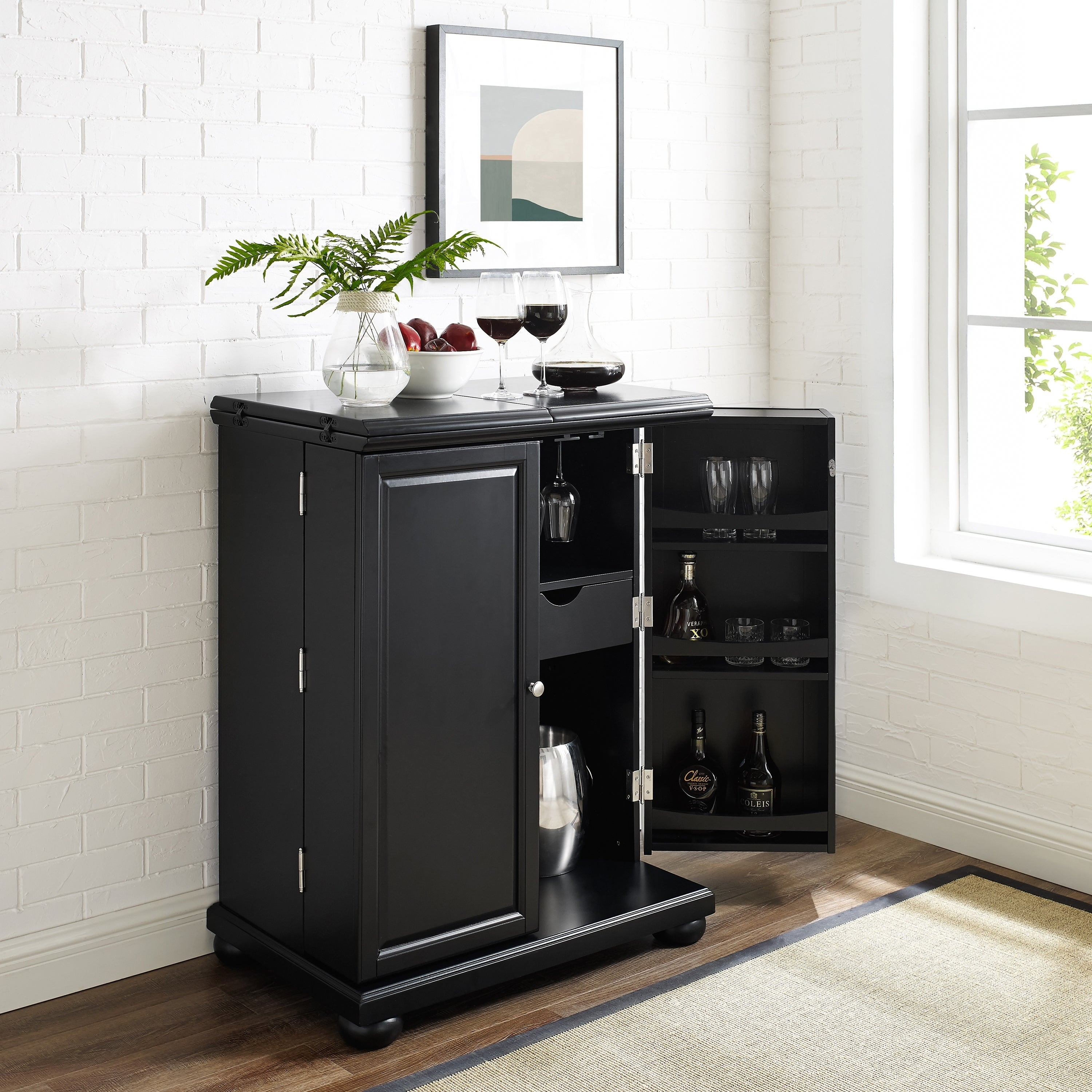Alexandria Black Finish Expandable Bar Cabinet Na throughout proportions 3000 X 3000