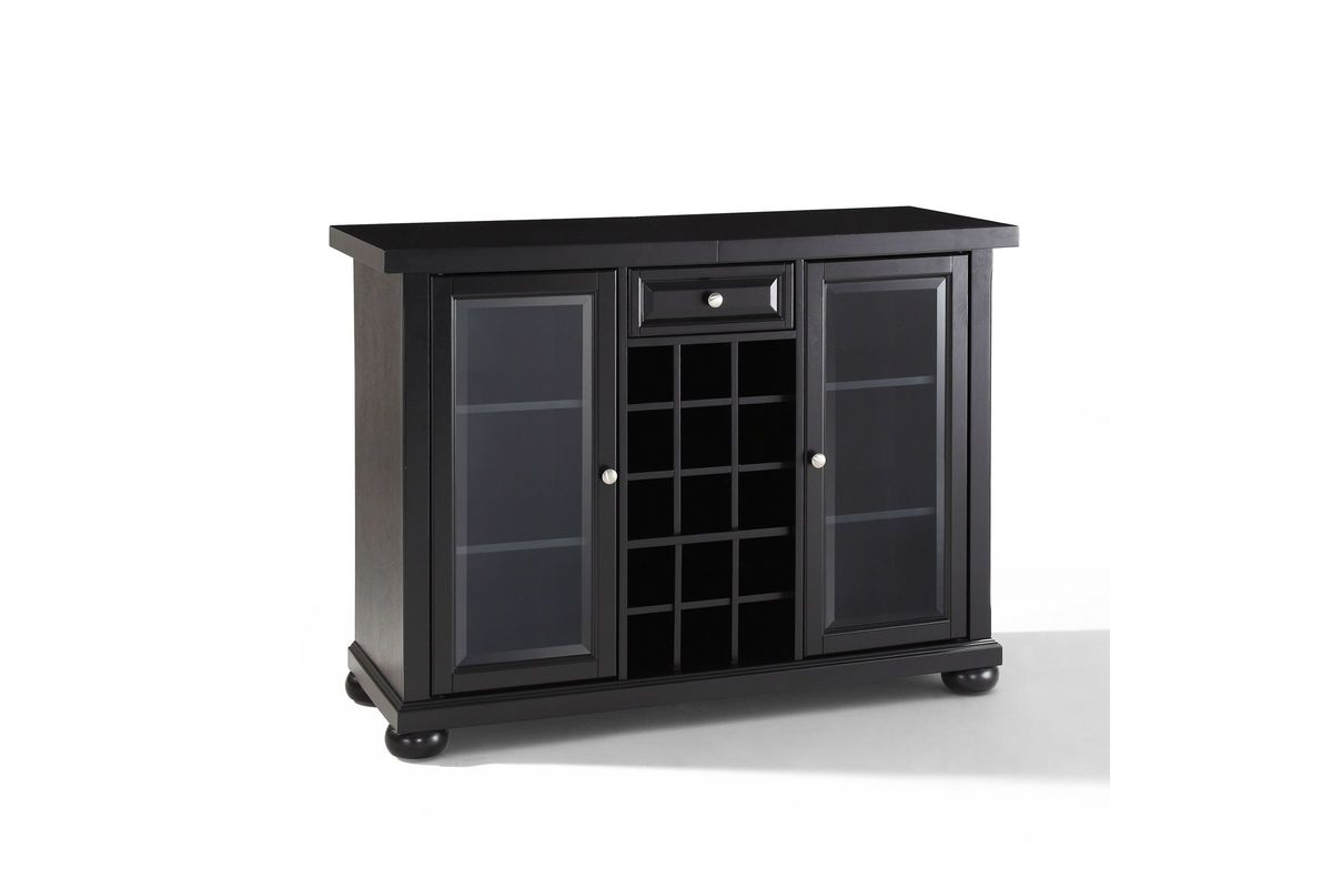 Alexandria Sliding Top Bar Cabinet In Black Crosley inside size 1200 X 800