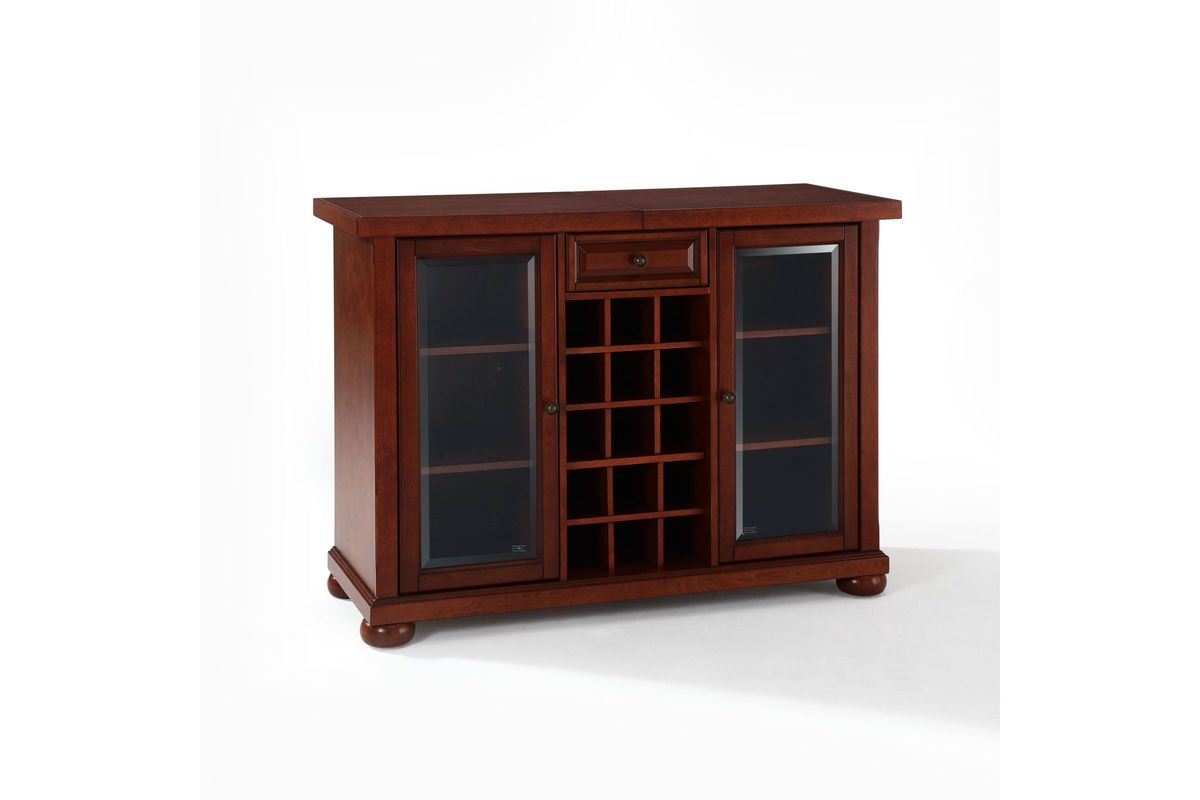 Alexandria Sliding Top Bar Cabinet In Vintage Mahogany Crosley inside measurements 1200 X 800