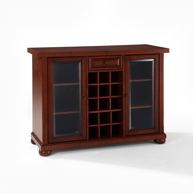 Alexandria Sliding Top Bar Cabinet Vintage Mahogany for size 3000 X 3000
