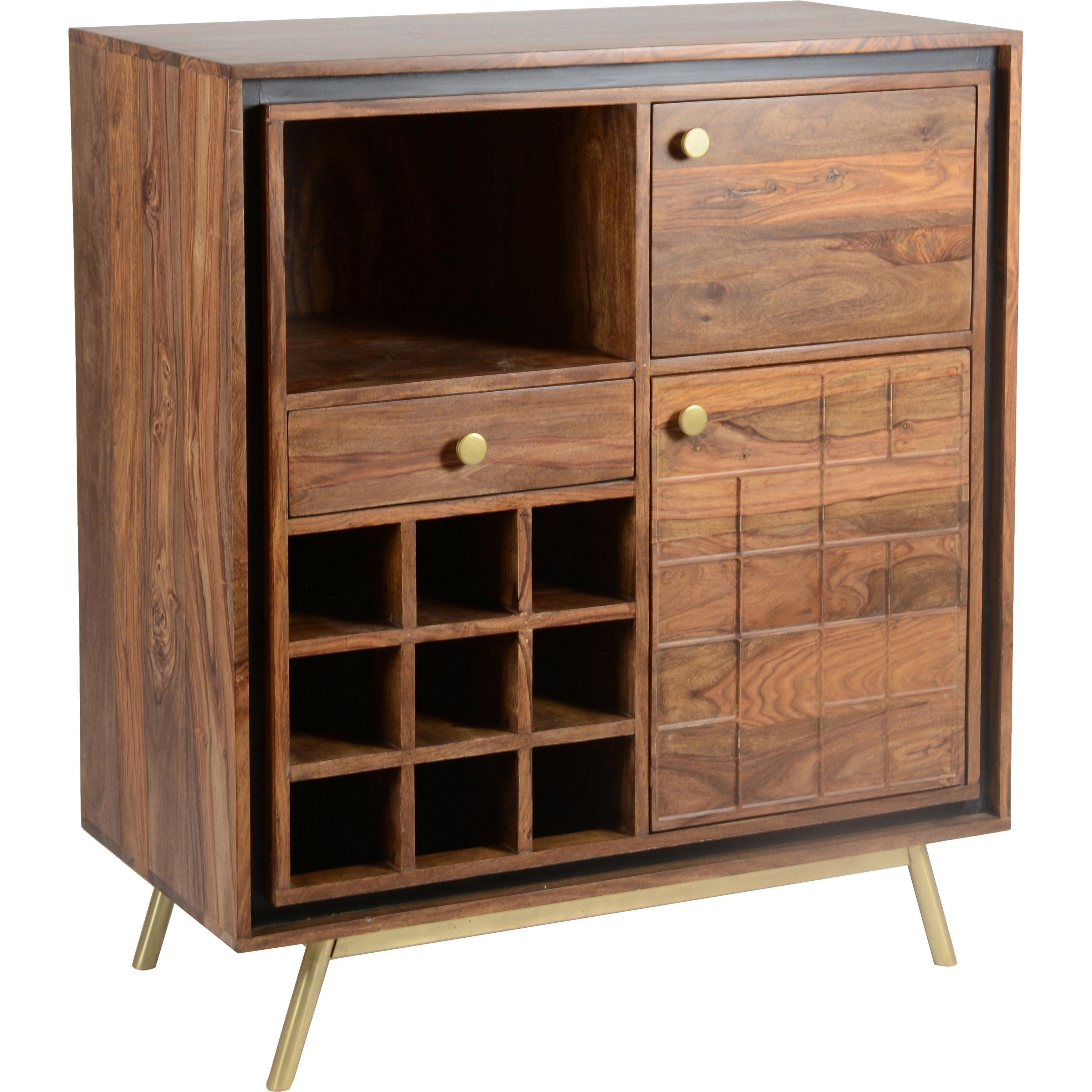 Aurelle Home Othello Brass Wood Mid Century Modern Bar Cabinet 39 X 35 X 18 throughout sizing 3064 X 3064
