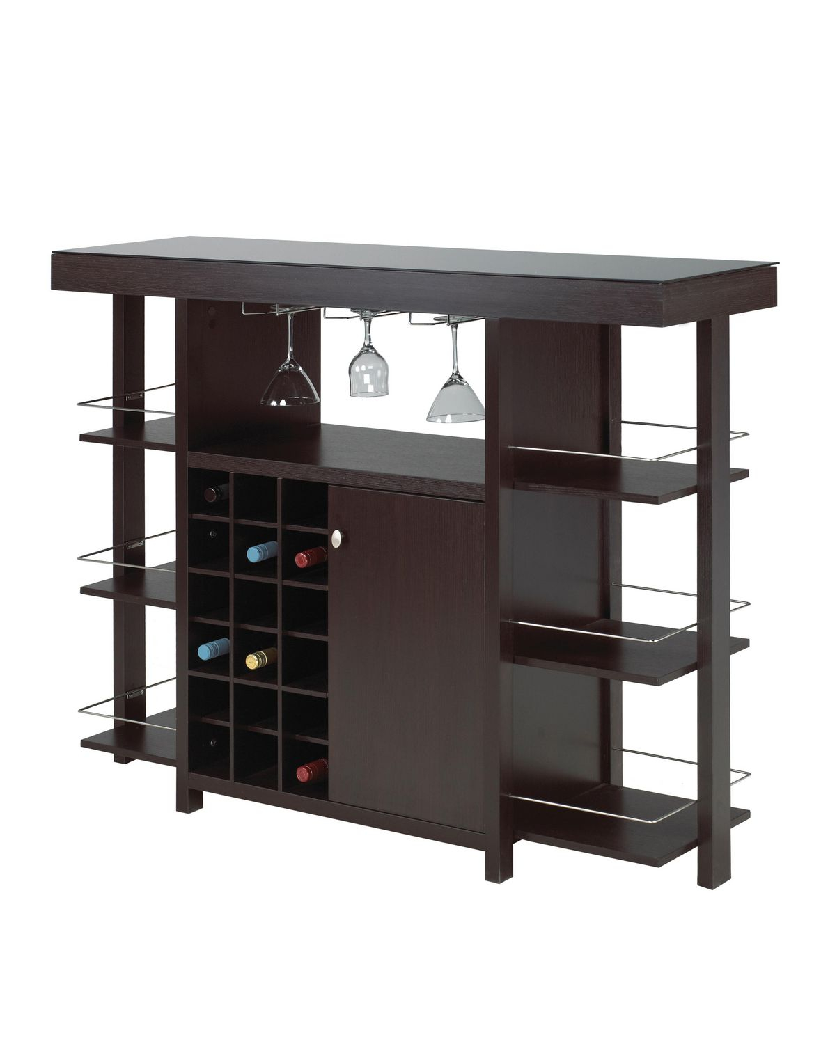 Bar Cabinet With Smoked Glass Top Dark Cherry with dimensions 1179 X 1500